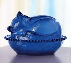 Cobalt Blue Cat Shaped Candy Dish
