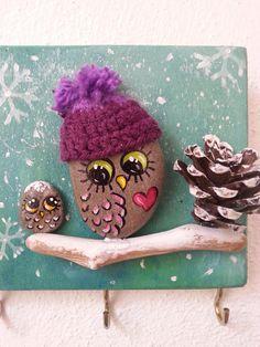 Cintre chouette peinture Pierre hibou hibou en pierre peint