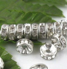 first communion beads crystal 100pcs white Silver acryl spacer bead 6mm white $0.99