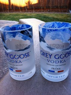 There's something about Grey Goose Bottles that people love to recycle. here's a set of two tumblers.