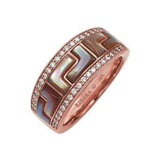 One of the most ancient symbols on earth, the Greek key, stylized by Kabana, adorns the Mykonos Collection. This collection is enriched by its daring and elegant combination of inlay and gold. This ladies ring is inlaid with pink mother of pearl, set in 14k rose gold and accented with diamonds (.29 ctw).