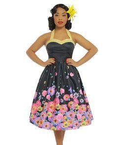 Robe Pin-Up Rétro 50's Rockabilly Dos Nu Swing Carola Blossom