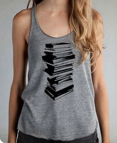 STack of Books Girls Ladies Heathered Tank Top Shirt silkscreen screenprint Alternative Apparel