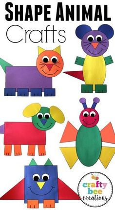 This is a great set of crafts that will help teach your kids about different shapes. They will cut and glue to assemble each craft using construction paper. # Easy Crafts for summer Shape Animal Crafts Bundle Kids Crafts, Toddler Crafts, Preschool Crafts, Craft Projects, Craft Ideas, Diy Ideas, Fall Crafts, Educational Crafts For Toddlers, Arts And Crafts For Kids Toddlers