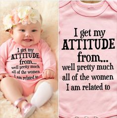 Personalized T-shirt Romper Cotton Infant Clothing  I Get My Attitude Long Sleeved Bodysuit bebe roupas meninos Photo Crop