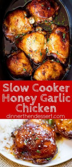 Slow Cooker Honey Garlic Chicken is the perfect weeknight meal with just five ingredients. Full of flavor and easy to make with pantry ingredients and almost no prep!