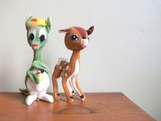 vintage 60s woodland dream pets stuffed fawn and kangaroo dolls