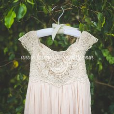 Beige Tan Crochet Flower Girl Dress, Shabby Chic Ivory Dress, Rustic Wedding Dress, Vintage Girls Dress, Champagne Flower Girl Dress