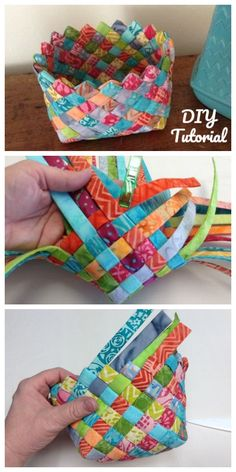 tyg hantverk DIY Woven Fabric Basket Tutorial FREE fabric crafts Basket DIY Fabric fabric crafts to sell FREE hantverk Tutorial tyg Woven Sewing Hacks, Sewing Tutorials, Sewing Crafts, Sewing Tips, Craft Tutorials, Fabric Basket Tutorial, Diy Couture, Leftover Fabric, Sewing Projects For Beginners