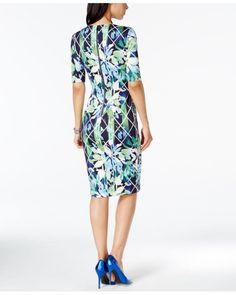 Vince Camuto | Blue Printed Sheath Dress | Lyst