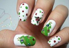 manicura blanca árbol de navidad #nailart