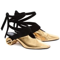 GOLD CYLINDER HEEL BALLET SHOE ❤ liked on Polyvore featuring shoes, flats, gold ballerina shoes, gold ballet flats, black flats, ballerina shoes and black ballet flats