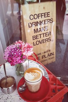 Coffee drinkers make better lovers? I've gotta' find me a coffee drinker. I am a coffee drinker. I Love Coffee, Coffee Art, Coffee Break, My Coffee, Morning Coffee, Coffee Shop, Coffee Cups, Coffee Lovers, Coffee Signs