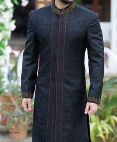 Couture Latest Men Sherwanis Wedding Dresses Collection can find Sherwani and more on our website. Sherwani For Men Wedding, Wedding Dresses Men Indian, Sherwani Groom, Wedding Men, Gothic Wedding, Farm Wedding, Wedding Couples, Indian Weddings, Classy Outfits