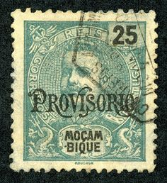 Mozambique  1902 Scott 95 25r sea green  On stamps of 1898