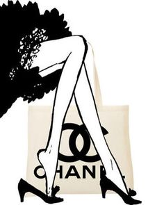 Shopping With My Chanel Tote Pop Art Canvas 16 x 20 Megan Hess Illustration, Chanel Wallpapers, Mode Poster, Chanel Party, Chanel Decor, Black And White Canvas, Chanel Couture, Fashion Wall Art, Coco Chanel