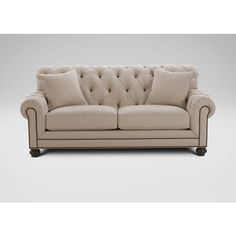 Ethan Allen Chadwick Sofa, Caron/Linen ($3,379) ❤ liked on Polyvore featuring home, furniture, sofas, tufted furniture, ethan allen couches, ethan allen sofas, linen furniture and ethan allen furniture