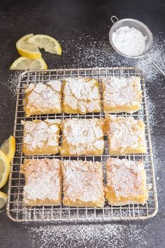 Easy Lemon Squares, these tangy squares are quick, easy and so delicious, made with a buttery shortbread base and a fresh lemon filling. Lemon Dessert Recipes, Lemon Recipes, Easy Desserts, Baking Recipes, Bar Recipes, Baking Ideas, Dinner Recipes, Lemon Squares Recipe, Lemon Cookies