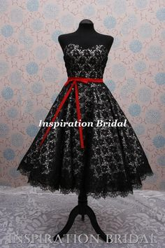black bridesmaid dresses or wedding gowns | C364 black white 50s 60s vintage lace short wedding dress