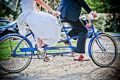sweet bicycle for two wedding shot