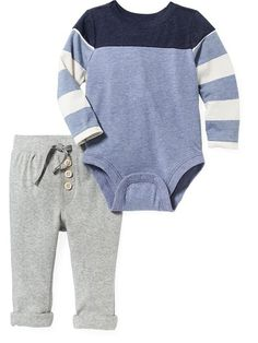 2-Piece Bodysuit and Pants Set from Old Navy for baby boys. Fashion for Winter 2015.