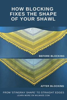 Give your #crochet and #knitting #shawls straight edges with the #blocking method! Tutorial and free crochet pattern of the Pom Pom Happiness Shawl can be found on wilmade.com