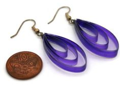 Purple teardrop earrings Craft Shop, Teardrop Earrings, Handmade Crafts, Shops, Group, Purple, Board, Jewelry, Jewellery Making