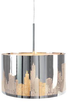 BIG CITY -kattovalaisin Trendikäs suurkaupunkiaiheinen kattovalaisin. Laserleikattu krominvärinen metallivarjostin luo vaikuttavan valaistuksen. Johdon pituus 1,2 m. Korkeus 23 cm, ø 40 cm. E27, enintään 60 W.