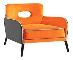 Fauteuil BUICK BAS, orange et gris souris - L75