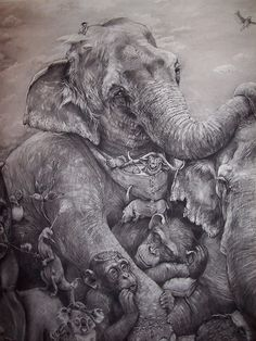"1s1st place 2012 ""Elephants"" by Adonna Khare Artprize . Khare's drawing has grown to be 14 feet tall, 40 feet wide.t place 2012  ""Elephants"""