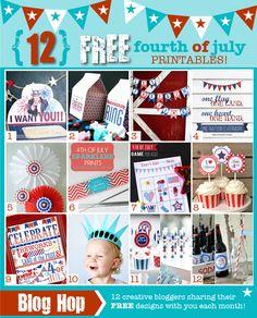 12 FREE fourth of july patriotic printables!
