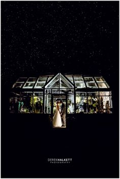 Star-studded nighttime portrait of bride and groom in glass green house. Learn more about Knoxville wedding photographer @halkettphoto today on the blog in a Spotlight! | The Pink Bride® www.thepinkbride.com #knoxvillewedding #tennesseewedding