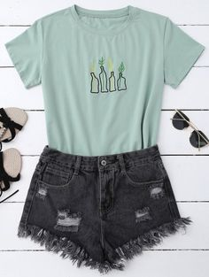SHARE & Get it FREE | Plant Embroidered T-Shirt - Pea GreenFor Fashion Lovers only:80,000+ Items • New Arrivals Daily Join Zaful: Get YOUR $50 NOW!