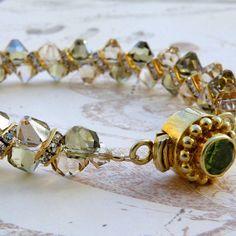 Champagne Crystal Bracelet, Gold, Tennis Bracelet, Peridot Green and Yellow Topaz, Handmade Wedding Jewelry, Spring Fashion