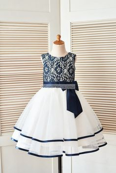 Blue Wedding Flowers Navy Blue Gold Lace Ivory Tulle Wedding Flower Girl Dress - The dress is made of lace and tulle fabric; Unique two toned lace in navy blue and gold color; Scoop neckline with . Shop now use for off TODAY! Flower Girls, Cheap Flower Girl Dresses, Wedding Flower Girl Dresses, Little Girl Dresses, Lace Wedding Dress, Tulle Wedding, Dress Lace, Wedding Flowers, Girls Dresses Online
