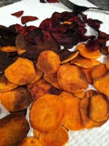 SCD Carrot & Beet Chips (*Substitute carrots for sweet potato...)
