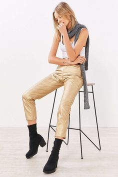 BDG Girlfriend Vegan Leather Pant - Gold - Urban Outfitters