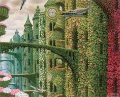 ღღ Jacek Yerka is a Polish painter of fantasy world and landscapes. Surrealism Painting, Pop Surrealism, Fantasy Landscape, Landscape Art, Magic Realism, Painting Gallery, Magritte, Visionary Art, Surreal Art