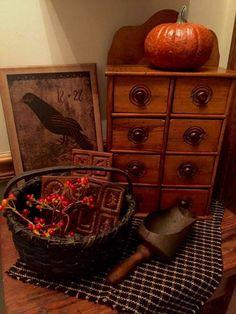 Primitive Fall, Primitive Antiques, Country Primitive, Autumn Decorating, Decorating On A Budget, Fall Decor, Country Decor, Rustic Decor, Antique Dry Sink
