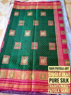Ravi Patola art Patan Single ikat pure silk Traditionally Design Patola Saree Green and Pink combination Jari Work Pochampally Sarees, Saris, Pure Silk, Ikat, Hand Weaving, Pure Products, Green, Pink, Design