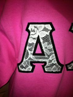Lace Stitch Letter Sorority Shirt by GreekStitchLetters on Etsy