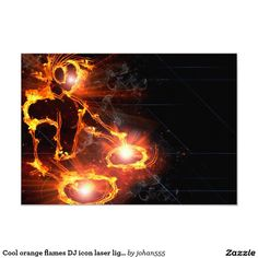 Cool orange flames DJ icon laser light party 3.5x5 Paper Invitation Card