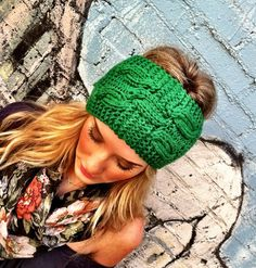 Kelly Green Knitted Headband - Plain Cable Knit Head band  Ear Warmer Headband head bands Hair Coverings. $16.50, via Etsy.
