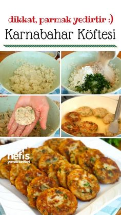 Parmak Yedirten Karnabahar Köftesi (videolu) – Nefis Yemek Tarifleri – Vegan yemek tarifleri – Las recetas más prácticas y fáciles Fun Easy Recipes, Vegan Recipes, Snack Recipes, Easy Meals, Yummy Recipes, Cauliflower Patties, Cauliflower Recipes, Tandoori Masala, Best Meatloaf