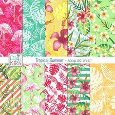 Papéis Digitais Verão Tropical Aquarela