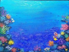 OCEAN CORAL REEF Free Acrylic Painting Tutorial by Angela Anderson on #Youtube #ocean #mermaid #underwater #acryliconcanvas #angelafineart