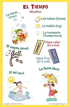 Spanish Language School Poster - Words About the Weather - Wall Chart for Home and Classroom - Bilingual: Spanish and English Text http://www.amazon.com/dp/B00MS82RFS/ref=cm_sw_r_pi_dp_5Wq8tb1HQ8RMJ