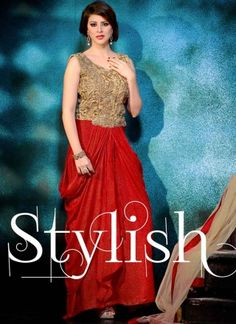 Radiant Red Zari Work Glitter Fabric Party Wear Gown