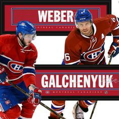 Canadiens Dynamic Duo - Weber & Galchenyuk • get your framed signature Jersey Name Print from NHLTrunk.com Of Montreal, Montreal Canadiens, Baseball Cards, Sports, Hs Sports, Excercise, Sport, Exercise