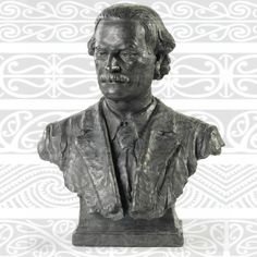 r@ngihiroa, Bust of Augustus Hamilton by Nelson Illingworth, 1908, set against   patterns found in his book 'Art Workmanship of the Māori Race'